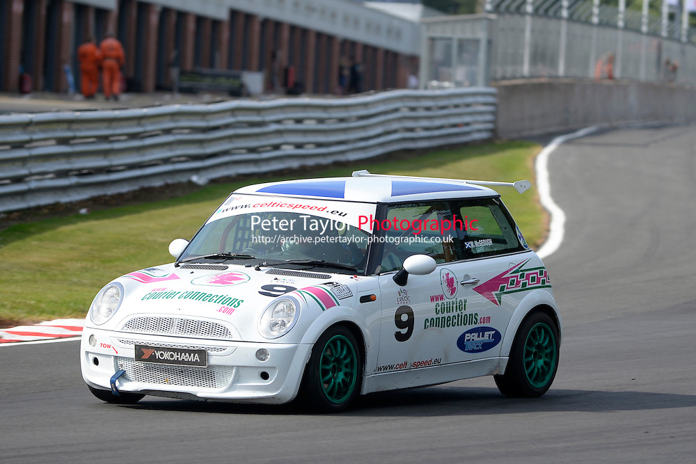 #9 Martin McGeough Mini Cooper during Celtic Speed Scottish Mini Cooper Cup Race 2 as part of the Mini Festival  at Oulton Park, Little Budworth, Cheshire, United Kingdom. August 08 2015. World Copyright Peter Taylor. Copy of publication required for printed pictures.  Every used picture is fee-liable. http://archive.petertaylor-photographic.co.uk