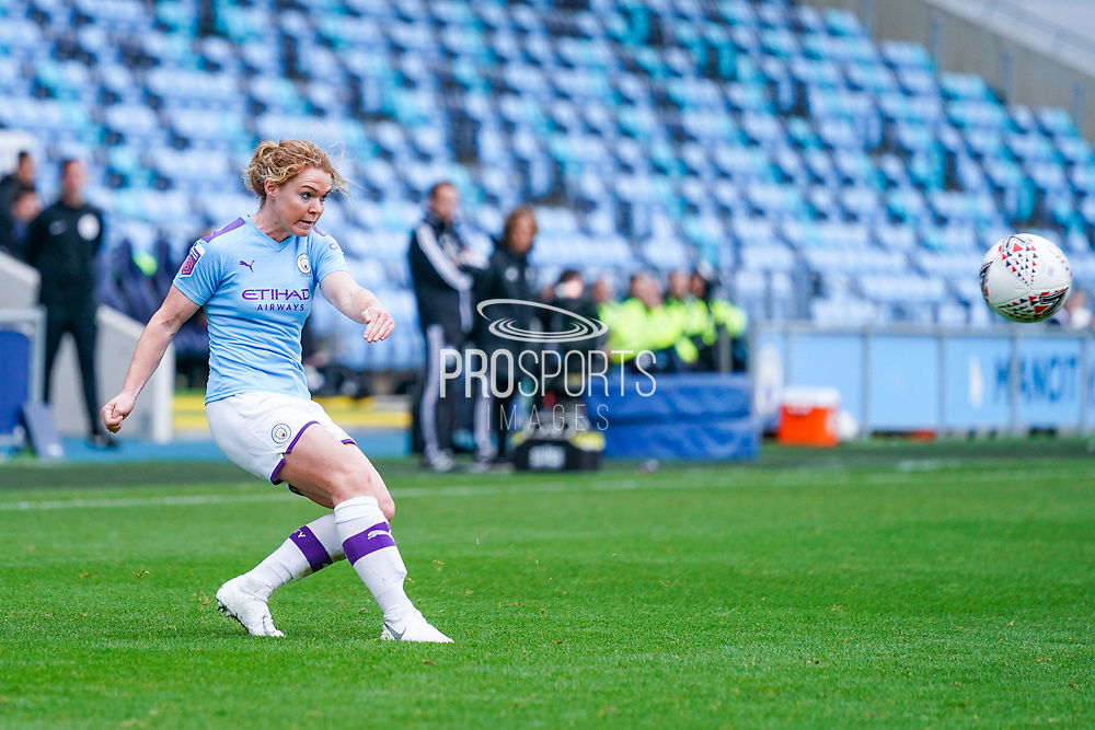 Manchester City Women defender Aoife Mannion (2) passes the ball during the FA Women's Super League match between Manchester City Women and BIrmingham City Women at the Sport City Academy Stadium, Manchester, United Kingdom on 12 October 2019.