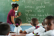 A teacher gives a Spanish class at the primary school in the town of Coyolito, Honduras on Wednesday April 24, 2013.