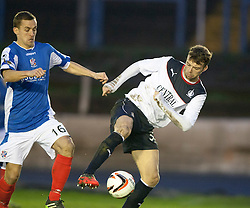 Cowdenbeath's James Fowler and Falkirk's Rory Loy.<br /> Cowdenbeath 0 v 2 Falkirk, Scottish Championship game today at Central Park, the home ground of Cowdenbeath Football Club.<br /> &copy; Michael Schofield.