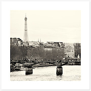 Pont des Arts, Paris, France - Monochrome version. Inkjet pigment print on Canson Infinity Rag Photographique 310gsm 100% cotton museum grade Fine Art and photo paper.<br />