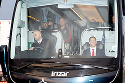 Liverpool manager Jurgen Klopp (top left) is seen through the team bus window as it leaves John Lennon Airport after defeat in the UEFA Champions League Final against Real Madrid in Kiev.