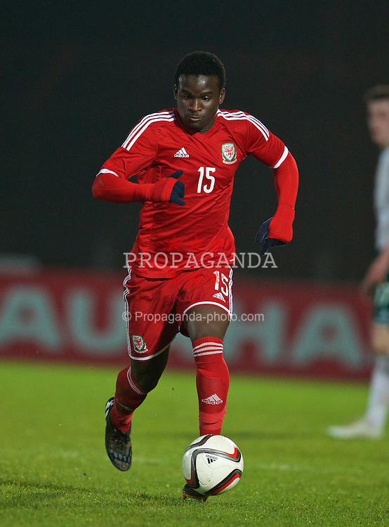 BALLYMENA, NORTHERN IRELAND - Thursday, November 20, 2014: Wales' Ibby Sosani in action against Northern Ireland during the Under-16's Victory Shield International match at the Ballymena Showgrounds. (Pic by David Rawcliffe/Propaganda)