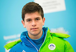 Gasper Brecl during presentation of Slovenian Young Athletes before departure to EYOF (European Youth Olympic Festival) in Vorarlberg and Liechtenstein, on January 21, 2015 in Bled, Slovenia. Photo by Vid Ponikvar / Sportida