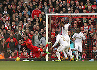 Barclays Premier League, Liverpool V Swansea, Anfield, 17/02/13 ..Pictured: Sturridge goes down in the Swansea Box...Picture by: Ben Wyeth / Athena