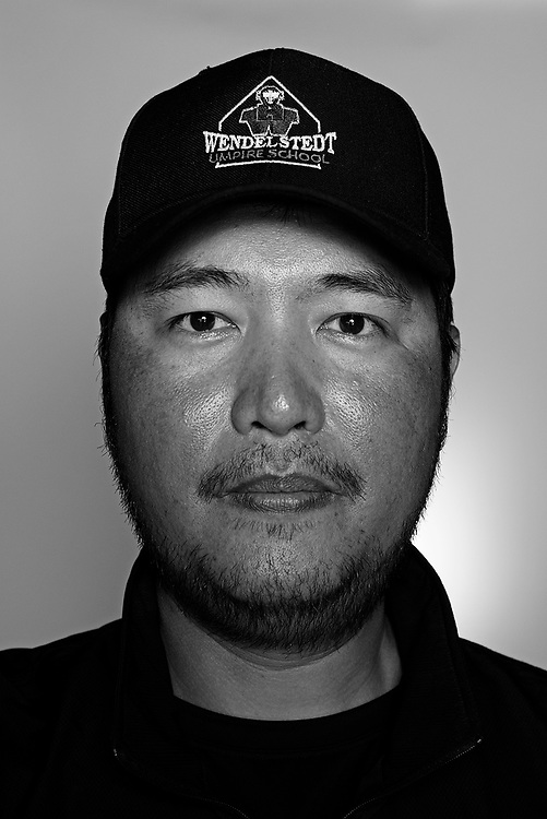 DAYTONA BEACH, FL - FEBRUARY 2, 2016:  Portraits of umpires calling a strike at the Harry Wendelstedt Umpire School in Daytona Beach, Fla.: Evan Yu, 36, of Taiwan is an umpire in the CPBL. (Photo by Melissa Lyttle)