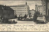 Zagreb (Croatie) Akademički trg = Place de l'Academia <br /> <br /> ImpresumZagreb : Naklada Jul. Hühna, [1904.].<br /> Materijalni opis1 razglednica : tisak ; 8.8 x 13.8 cm.<br /> Mjesto izdavanjaZagreb<br /> Vrstarazglednice<br /> ZbirkaGrafička zbirka NSK • Zbirka razglednica<br /> Formatimage/jpeg<br /> PredmetZagreb –– Trg Josipa Jurja Strossmayera<br /> Jezikhrvatski<br /> SignaturaRZG-STRG-20<br /> Obuhvat(vremenski)20. stoljeće<br /> NapomenaRazglednica je putovala 1904. godine. • Poleđina razglednice je namijenjena samo za adresu<br /> PravaJavno dobro<br /> Identifikatori000920380<br /> NBN.HRNBN: urn:nbn:hr:238:437081 <br /> <br /> Izvor: Digitalne zbirke Nacionalne i sveučilišne knjižnice u Zagrebu