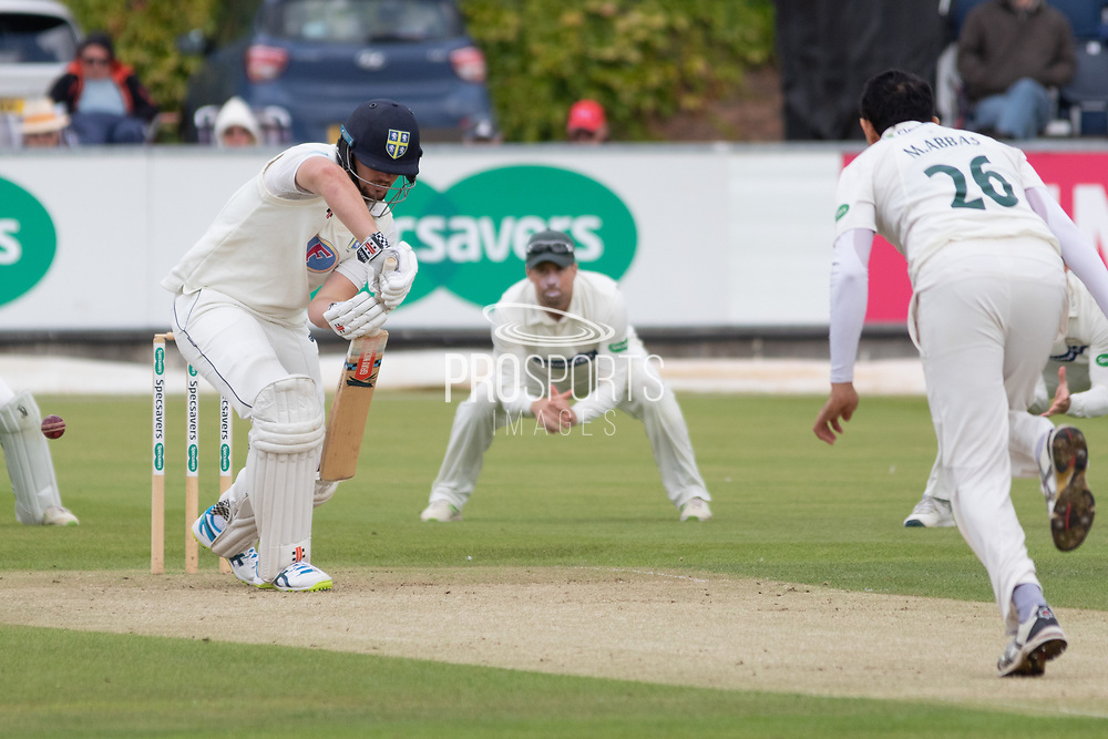 Muhammad Abbas beats Alex Lees during the Specsavers County Champ Div 2 match between Durham County Cricket Club and Leicestershire County Cricket Club at the Emirates Durham ICG Ground, Chester-le-Street, United Kingdom on 18 August 2019.