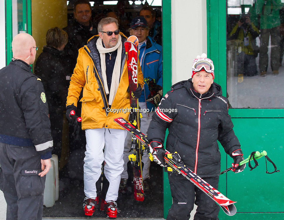 Hollywood star Kevin Costner with Peter Schroecksnadel during the FIS Ski World Championships,   Schladming, Styria, Austria, February 9, 2013. Photo by Imago / i-Images...UK ONLY