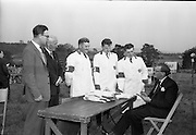 2/07/1963<br /> 07/02/1963<br /> 02 July 1963<br /> Macra na Feirme/Irish Shell and BP Ltd. Farm Tasks Competitions Connacht Finals at Strokestown, Co. Roscommon. The competition was won by a team from Strokestown Branch representing Roscommon. Photo shows the Leitrim team that competed in the Connacht Final, getting their briefing from the Macra Secretary Mr Brendan Sheehy (right). Included are Mr. J.A Herbert, Distribution Supervisor, Irish Shell and BP Ltd.; Mr J.J. Armstrong, Connacht Petroleum Ltd. Representative and team members S. Fisher; M. Richardson and T.F. McCartin.