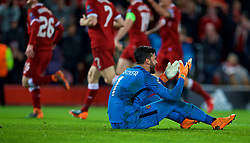 LIVERPOOL, ENGLAND - Tuesday, April 24, 2018: AS Roma's goalkeeper Alisson Becker looks dejected as Liverpool score the fourth goal during the UEFA Champions League Semi-Final 1st Leg match between Liverpool FC and AS Roma at Anfield. (Pic by David Rawcliffe/Propaganda)