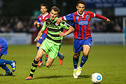 Forest Green Rovers Christian Doidge(9) battles for the ball during the Vanarama National League first leg play off match between Dagenham and Redbridge and Forest Green Rovers at the London Borough of Barking and Dagenham Stadium, London, England on 4 May 2017. Photo by Shane Healey.