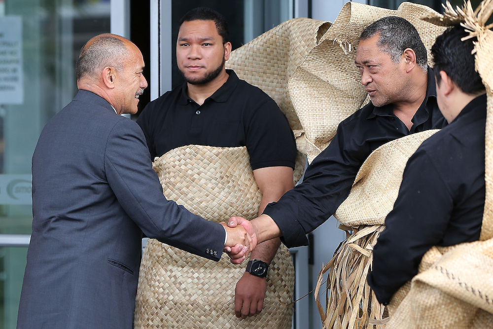 The Governor General Sir Jerry Mateparae greets mourners at the `Aho Faka Famili, where  Pasifika communities celebrate the life of Jonah Lomu according to their traditions, Vodafone Events Centre, Manukau, Auckland, New Zealand, Saturday, November 28, 2015.   Credit:SNPA / David Rowland