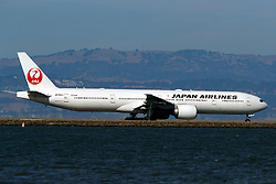 Boeing 777-346(ER) (JA742J) operated by Japan Airlines taxiing San Francisco International Airport (KSFO), San Francisco, California, United States of America