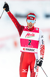 21.02.2016, Salpausselkae Stadion, Lahti, FIN, FIS Weltcup Nordische Kombination, Lahti, Langlauf, im Bild Akito Watabe (JPN) // Akito Watabe of Japan reacts during Cross Country Gundersen Race of FIS Nordic Combined World Cup, Lahti Ski Games at the Salpausselkae Stadium in Lahti, Finland on 2016/02/21. EXPA Pictures © 2016, PhotoCredit: EXPA/ JFK