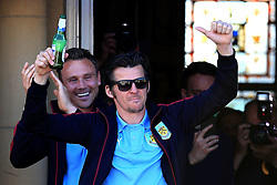 Burnley's Joey Barton celebrates with the fans - Mandatory by-line: Matt McNulty/JMP - 09/05/2016 - FOOTBALL - Burnley Town Hall - Burnley, England - Burnley FC Championship Trophy Presentation