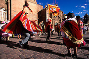 PERU, CUZCO, FESTIVALS Corpus Christi; costumed dancers