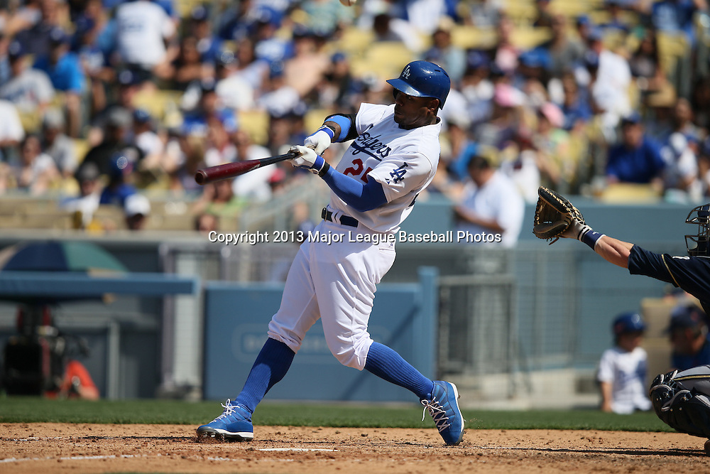 LOS ANGELES, CA - APRIL 28:  Carl Crawford #25 of the Los Angeles Dodgers bats during the game against the Milwaukee Brewers on Sunday, April 28, 2013 at Dodger Stadium in Los Angeles, California. The Dodgers won the game 2-0. (Photo by Paul Spinelli/MLB Photos via Getty Images) *** Local Caption *** Carl Crawford