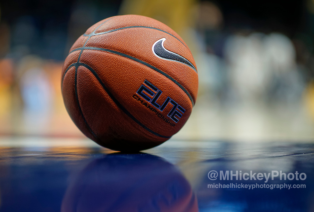 CINCINNATI, OH - NOVEMBER 12: A detail view of a Nike basketball is seen on the court before the Xavier Musketeers and Missouri Tigers game at Cintas Center on November 12, 2019 in Cincinnati, Ohio. (Photo by Michael Hickey/Getty Images)