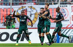 15.09.2016, Red Bull Arena, Salzburg, AUT, UEFA EL, FC Red Bull Salzburg vs FC Krasnodar, Gruppe I, 1. Runde, im Bild Torjubel Krasnodar nach dem 0:1 durch Joaozinho (FC Krasnodar), Sergei Petrov (FC Krasnodar), Fedor Smolov (FC Krasnodar), Charles Kabore (FC Krasnodar) // during the UEFA Europa League, group I, 1st round match betweenFC Red Bull Salzburg and FC Krasnodar at the Red Bull Arena in Salzburg, Austria on 2016/09/15. EXPA Pictures © 2016, PhotoCredit: EXPA/ JFK