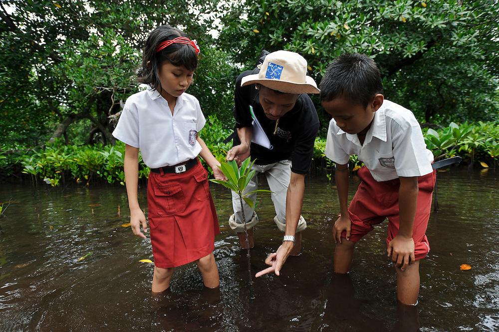 Bapak Juanda Datundugon with children during an environmental education class in a mangrove area, Dudepo, Bolmong Selatan, Sulawesi, Indonesia.