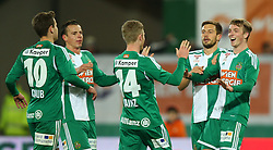 14.03.2015, Ernst Happel Stadion, Wien, AUT, 1. FBL, SK Rapid Wien vs SV Scholz Groedig, 25. Runde, im Bild Torjubel Louis Schaub (SK Rapid Wien), Stefan Schwab (SK Rapid Wien), Florian Kainz (SK Rapid Wien), Thomas Schrammel (SK Rapid Wien) und Philipp Schobesberger (SK Rapid Wien) // during a Austrian Football Bundesliga Match, 25th Round, between SK Rapid Vienna and SV Scholz Groedig at the Ernst Happel Stadion, Wien, Austria on 2015/03/14. EXPA Pictures © 2015, PhotoCredit: EXPA/ Thomas Haumer