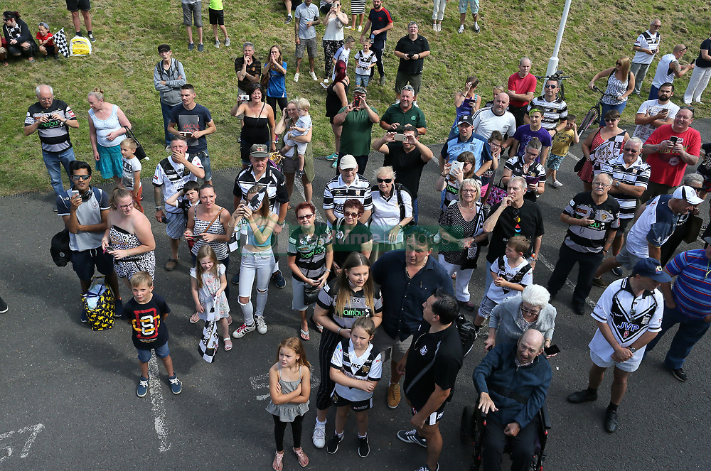Hull fans start to gather prior to Hull FC's Challenge Cup Win homecoming parade through Hull.