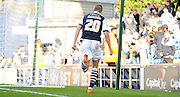 Steve Morrison continues his celebration during the Sky Bet League 1 match between Millwall and Rochdale at The Den, London, England on 26 September 2015. Photo by Michael Hulf.