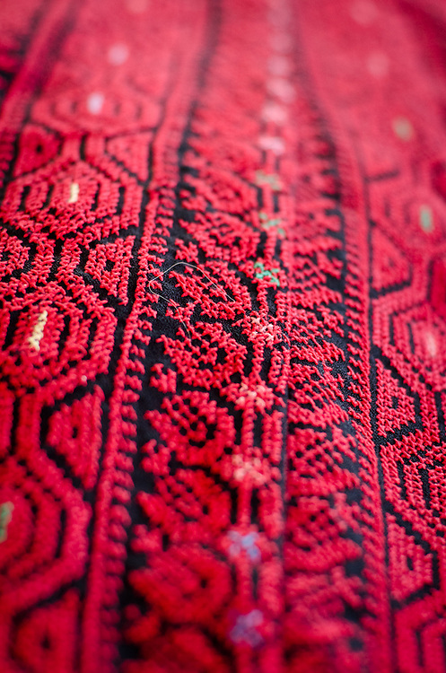 Traditional bedouin embroidery is still practiced in Israel's Negev desert - some for domestic use, but also for sale.