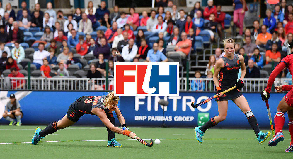 BRUSSELS, BELGIUM - JUNE 24: Caia van Maasakker of Netherlands scores from a penalty corner during the FINTRO Women's Hockey World League Semi-Final Pool A game between Korea and Netherlands on June 24, 2017 in Brussels, Belgium. (Photo by Charles McQuillan/Getty Images for FIH)