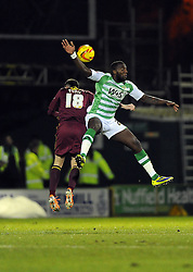 Watford's Daniel Pudil battles for the high ball with Yeovil Town's Ishmael Miller - Photo mandatory by-line: Joe Meredith/JMP - Tel: Mobile: 07966 386802 18/02/2014 - SPORT - FOOTBALL - Yeovil - Huish Park - Yeovil Town v Watford - Sky Bet Championship