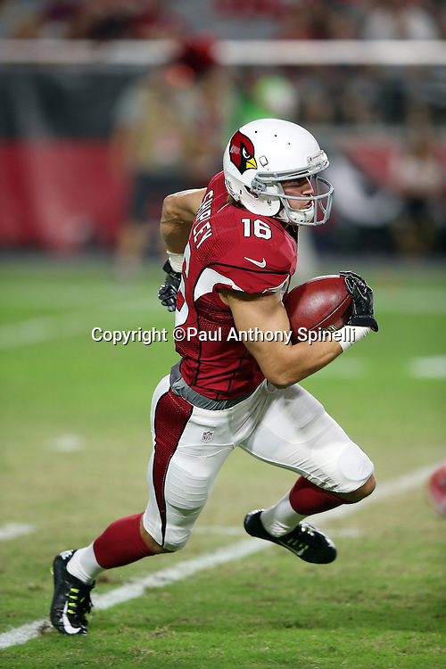 Arizona Cardinals wide receiver Jaxon Shipley (16) returns a punt during the 2015 NFL preseason football game against the Kansas City Chiefs on Saturday, Aug. 15, 2015 in Glendale, Ariz. The Chiefs won the game 34-19. (©Paul Anthony Spinelli)