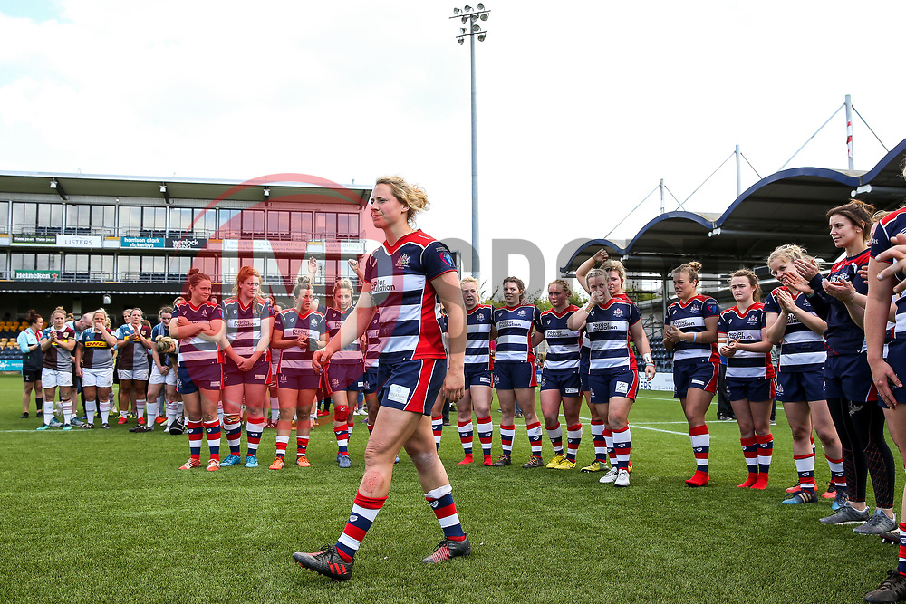 Amber Reed (capt) of Bristol Ladies steps up with her team to collect their runners up medals after losing in the Play Off Final having finished the regular season top of the league - Rogan Thomson/JMP - 23/04/2017 - RUGBY UNION - Sixways Stadium - Worcester, England - Bristol Ladies Rugby v Aylesford Bulls - Women's Premiership Final.