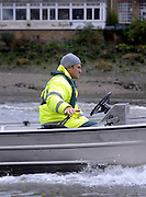 London, United Kingdom.  Sophie HOSKING coach Paul REEDY, signals steering instructions during the  Wingfield Sculls. Raced over the Championship Course,  Putney to Mortlake, Thursday  05/11/2009 [Mandatory Credit Peter Spurrier/ Intersport Images]