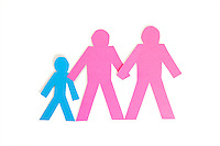 Colored stick figures holding hands over white background