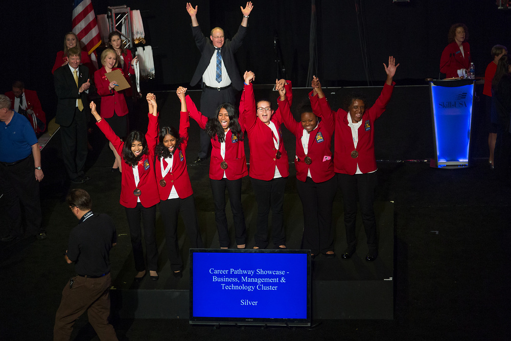 The 2017 SkillsUSA National Leadership and Skills Conference Competition Medalists were announced Friday, June 23, 2017 at Freedom Hall in Louisville. <br /> <br /> Career Pathways - Business, Management and Technology<br /> <br /> 	Team FD (consisting of Joshua Jaffe, David J Bryson, Maxwell G Kotlan)<br />   High School	 Mayfield High School<br />   Gold	 Cleveland, OH<br /> Career Pathways - Business, Management and Technology	Team SA (consisting of Madison Dulaney, Dylan Quail, Matthew Opara)<br />   High School	 Millstream Career Center<br />   Silver	 Findlay, OH<br /> Career Pathways - Business, Management and Technology	Team NA (consisting of Pritika Paramasivam, Aditi Merchant, Ridha Mirza)<br />   High School	 Westwood High School<br />   Bronze	 Austin, TX<br /> Career Pathways - Business, Management and Technology	Team RB (consisting of Essence Jones, Adrainne Thompson, Jacquelyn Durgan)<br />   College	 Georgia Piedmont Technical College<br />   Gold	 Clarkston, GA<br /> Career Pathways - Business, Management and Technology	Team RA (consisting of Alexander Woodham, Lynda Carrell, Aaron Keyser)<br />   College	 Manatee Tech College<br />   Silver	 Bradenton, FL<br /> Career Pathways - Business, Management and Technology	Team SB (consisting of Dawn Myrick, Abby Walters, Antonese Roberts)<br />   College	 Tennessee College of Applied Tech-Nashville<br />   Bronze	 Nashville, TN