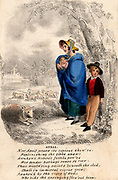 Country woman with baby and young boy sheltering from an April shower. Seasonal illustration and poem for the month of April. Hand-coloured lithograph c1830.