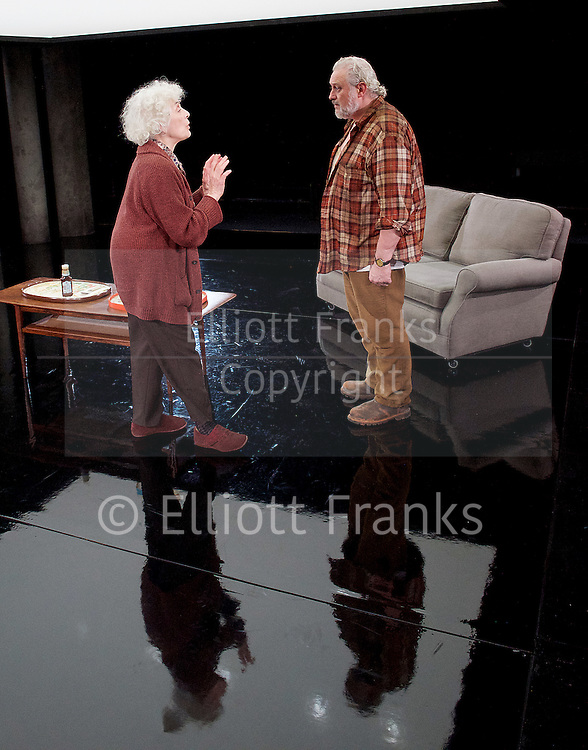 Forget Me Not <br /> by Tom Holloway <br /> directed by Steven Atkinson<br /> at The Bush Theatre, London, Great Britain <br /> press photocall <br /> 10th December 2015 <br /> <br /> Russell Floyd (as Gerry)<br /> <br /> Eleanor Bron (as Mary)<br /> <br /> <br />  <br /> Photograph by Elliott Franks <br /> Image licensed to Elliott Franks Photography Services