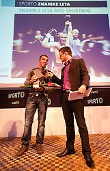 Dejan Zavec as men best brand and Sasa Jerkovic during Sporto  2010 Gala Dinner and Awards ceremony at Sports marketing and sponsorship conference, on November 29, 2010 in Hotel Slovenija, Portoroz/Portorose, Slovenia. (Photo By Vid Ponikvar / Sportida.com)
