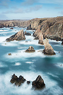 Sea stacks off west coast of Lewis, Western Isles, Scotland.