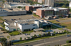 Stock photo of an aerial view of the MD Anderson Proton Therapy Lab in the Texas Medical Center, Houston