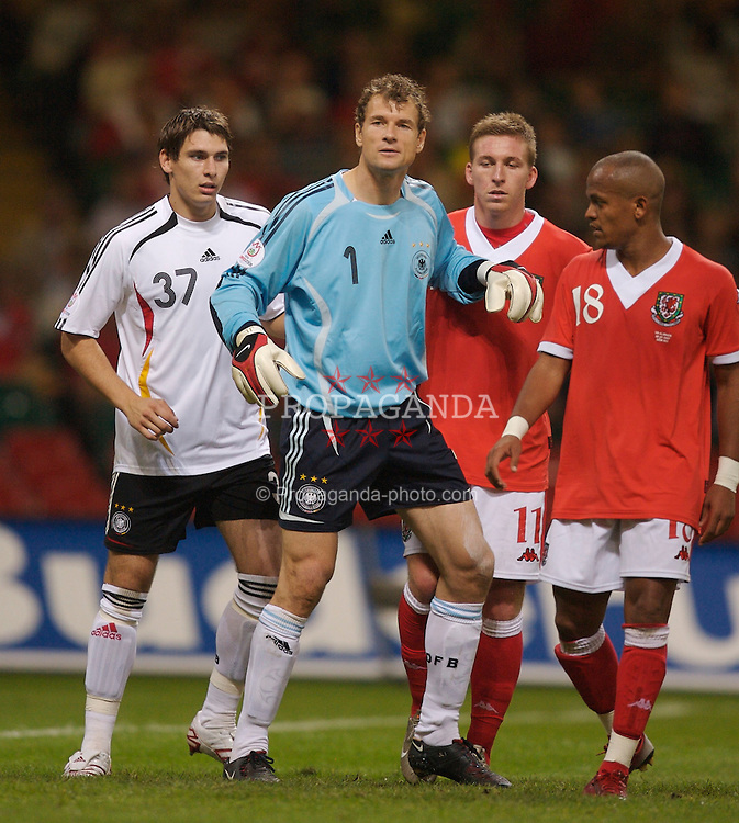 Cardiff, Wales - Saturday, September 8, 2007: Wales' Freddy Eastwood and Robert Earnshaw and Germany's Patrick Helmes and goalkeeper Jens Lehmann during the Euro 2008 Qualifying Group D match at the Millennium Stadium. (Photo by David Rawcliffe/Propaganda)