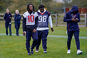 DeAndre Hopkins (WR) of the Houston Texans (10) and D.J. Reader (DE/NT) of the Houston Texans (98) tduring the media day / training session / press conference for Houston Texans at London Irish Training Ground, Hazelwood Centre, United Kingdom on 1 November 2019.
