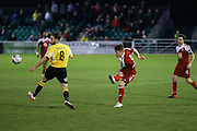 Whitehawk striker Jake Robinson shoots at goal during the National League South Play Off 1st Leg match between Whitehawk FC and Ebbsfleet United at the Enclosed Ground, Whitehawk, United Kingdom on 4 May 2016. Photo by Phil Duncan.