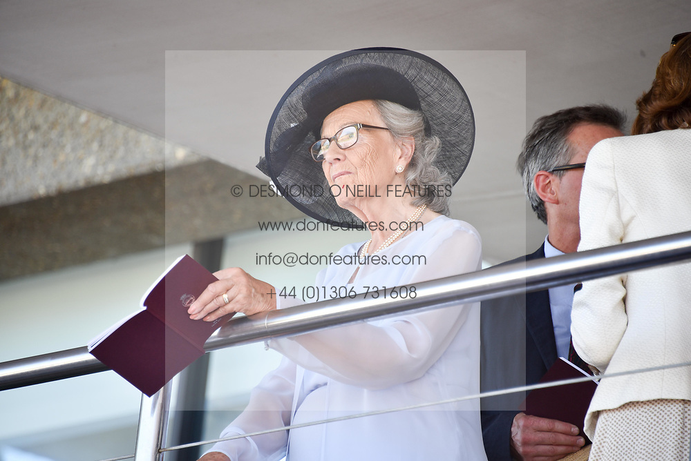 The Dowager, Duchess of Richmond at the Qatar Goodwood Festival - Glorious Goodwood, Goodwood Racecourse, West Sussex 02 August 2018.
