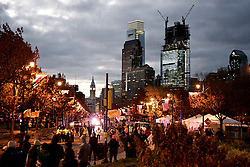 Early morning view of Center City Philadelphia Skyline and Benjamin Franklin Parkway as the sun rises over the start location of the 2016 Philadelphia Marathon, on Benjamin Franklin Parkway, on Nov. 21, 2016.<br /> <br /> With the city of Philadelphia taking over organization the course, as well as start and finish locations are slightly different from past years. The winners for 2016 are, in the Mens race, Kimutai Cheruiyot in 2:15:53, and Taylor Ward in the Womens race in 2:36:25