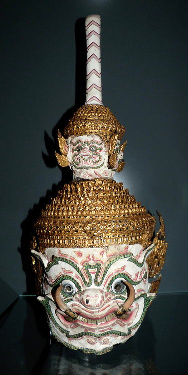 Dance Mask circa 1850-1900.  This mask would have worn by an actor playing the part of Thotsakan, the demon king of Sri Lanka.  Originally based on Indian temple dances, these masked dances become a popular entertainment at the royal court during the Ayutthaya period  (1350-1767).