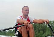 Vienna AUSTRIA. SUI M1X . Xeno MUELLER. Start of his heat, 2000 FISA World Cup. 2nd Round. Vienna Neue Donau Rowing Course  [Mandatory Credit. Peter Spurrier/Intersport Images]