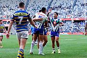 Ken Maumalo celebrates after scoring with teammates. Parramatta Eels v Vodafone Warriors. NRL Rugby League. Bankwest Stadium, Sydney, Australia. 27th July 2019. Copyright Photo: David Neilson / www.photosport.nz