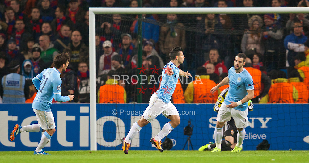 MANCHESTER, ENGLAND - Tuesday, November 5, 2013: Manchester City's Sergio Aguero celebrates scoring the second goal against CSKA Moscow during the UEFA Champions League Group D match at the City of Manchester Stadium. (Pic by David Rawcliffe/Propaganda)